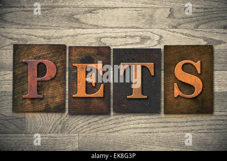 The word 'PETS' theme written in vintage, ink stained, wooden letterpress type on a wood grained background. - Stock Photo