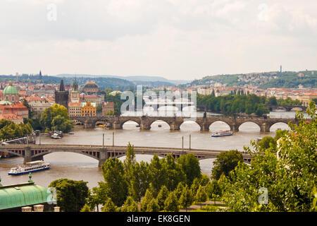 view of bridges over Vltava in Prague - Stock Photo