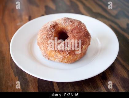 A homemade cinnamon donut from d'Lish by Tish Café in Saskatoon, Saskatchewan, Canada.