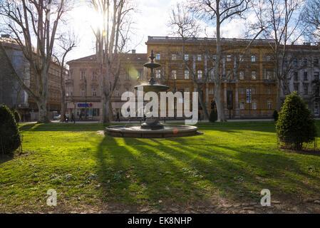 Zrinjevac or Josip Juraj Strossmayer park and square, Zagreb, Croatia - Stock Photo