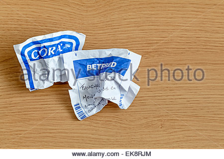 Screwed up betting slips.  For Editorial Use Only. - Stock Photo