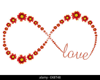Infinity Symbol Of Red Flower Isolated On White Background Stock