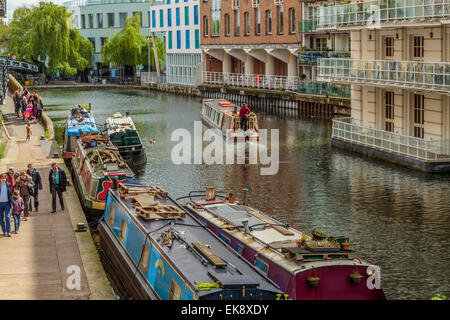 An elevated view of the Regent's Canal, Camden Lock London England Uk - Stock Photo