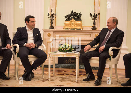 April 8, 2015 - Moscow, Russia - Russian President Vladimir Putin, welcomes visiting Greek Prime Minister Alexis - Stock Photo