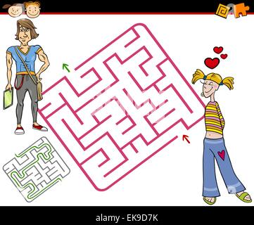 Cartoon Illustration of Education Maze or Labyrinth Game for Preschool Children with Teenagers in Love - Stock Photo
