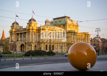 Sphere in front of the Music Academy and Croatian National Theatre, Zagreb, Croatia - Stock Photo