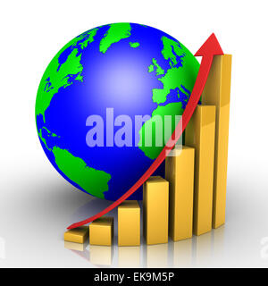Graphic chart and earth - Stock Photo