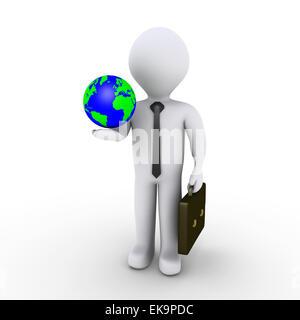 Businessman holding earth - Stock Photo