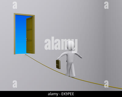 Businessman on tightrope trying to reach open door - Stock Photo