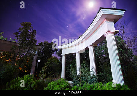 Night in the park. Trees behind the columns. Crimea - Stock Photo