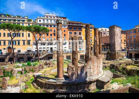 Beautiful Largo di Torre Argentina,ancient romans ruins,Rome,Italy. - Stock Photo