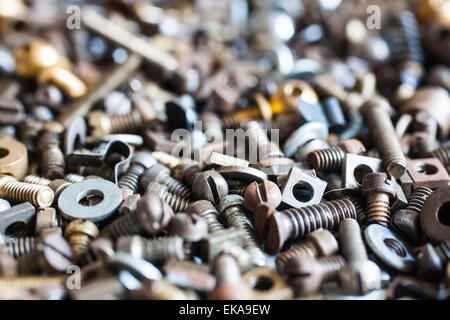 Nuts, Bolts, Washers, Etc, In Close Up - Stock Photo