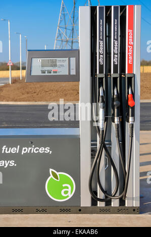 Diesel pump at an Applegreen motorway service station for trucks and lorries, also dispensing red (marked) diesel - Stock Photo