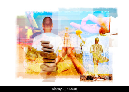multiple exposures of a young yogi man in different yoga positions outdoors and a stack of balanced stones or a - Stock Photo