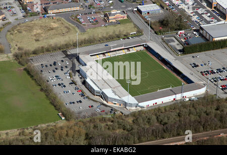 aerial view of Scunthorpe United football ground Glanford Park, UK - Stock Photo