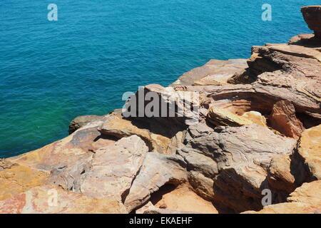 Pindan red rocks at Gantheaume Point Broome, Western Australia.