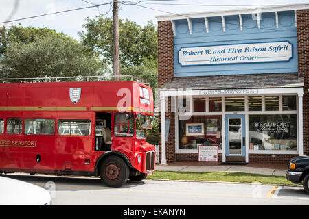 Historical homes,sites , Beaufort, North Carolina,Carteret County,tour bus - Stock Photo