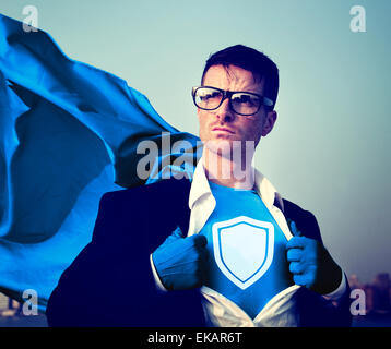 Strong Superhero Businessman Protection Concepts - Stock Photo