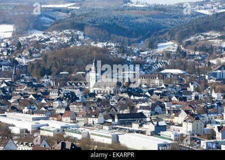 Overlooking Attendorn, Hanseatic City, Sauerland region, North Rhine-Westphalia, Germany, Europe, Ausblick auf die - Stock Photo