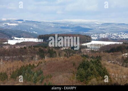 Overlooking Attendorn, Hanseatic City, Sauerland region, North Rhine-Westphalia, Germany, Europe, - Stock Photo