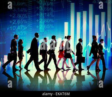 Silhouette Group of Business People Growth Concept - Stock Photo