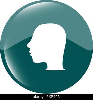 Idea head icon button - Stock Photo
