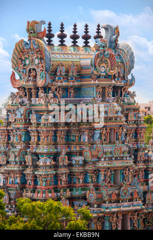 The Meenakshi Amman Temple Hindu Temple in the city of Madurai in the Tamil Nadu region of India. - Stock Photo