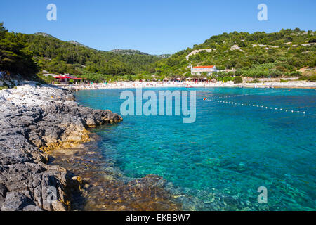 Picturesque beach near Hvar Town, Hvar, Dalmatia, Croatia, Europe - Stock Photo