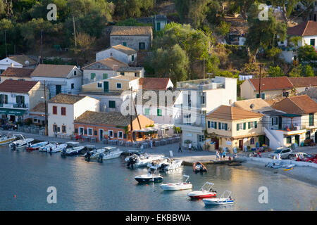 View over the harbour from hillside, Loggos, Paxos, Paxi, Corfu, Ionian Islands, Greek Islands, Greece, Europe - Stock Photo