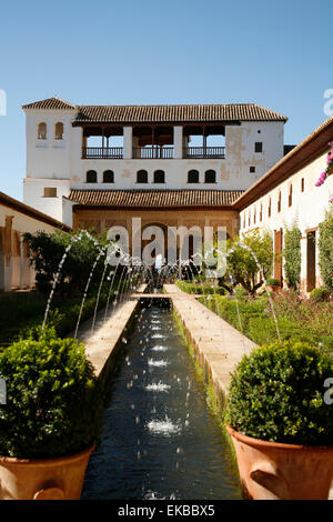 Generalife Gardens, Alhambra Palace, UNESCO World Heritage Site, Granada, Andalucia, Spain, Europe - Stock Photo