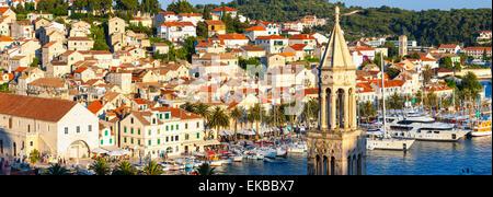 Elevated view over the picturesque harbour town of Hvar, Hvar, Dalmatia, Croatia, Europe - Stock Photo