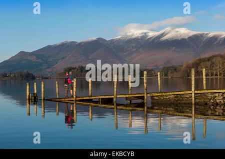 Ashness Boat Landing, Skiddaw Range, Derwentwater, Keswick, Lake District National Park, Cumbria, England, UK - Stock Photo