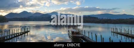 Boat landings, Derwentwater, Keswick, Lake District National Park, Cumbria, England, United Kingdom, Europe - Stock Photo