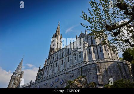 Notre-Dame du Rosaire Basilica, Lourdes, Hautes-Pyrenees, France, Europe - Stock Photo