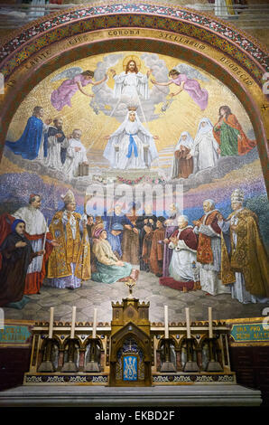 Mosaic of the The Coronation of the Virgin by Wencker, Notre-Dame du Rosaire Basilica, Lourdes, Hautes-Pyrenees, - Stock Photo