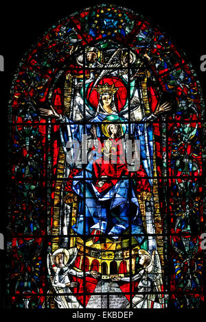 Stained glass window of Our Lady of Strasbourg by Max Ingrand, Our Lady of Strasbourg Cathedral, Strasbourg, Alsace, - Stock Photo
