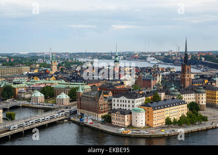 Skyline view over Gamla Stan, Riddarholmen and Riddarfjarden, Stockholm, Sweden, Scandinavia, Europe - Stock Photo