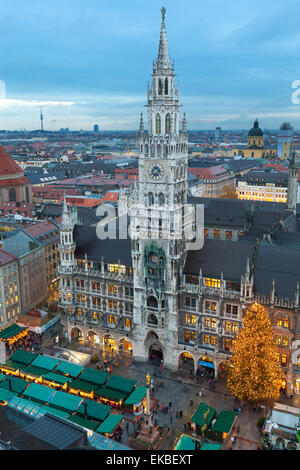 Overview of the Marienplatz Christmas Market and the New Town Hall, Munich, Bavaria, Germany, Europe - Stock Photo
