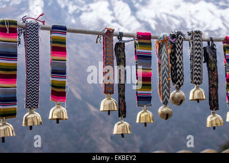 Yak bells on sale in a small market town in the Sagarmatha National Park, Nepal, Asia - Stock Photo