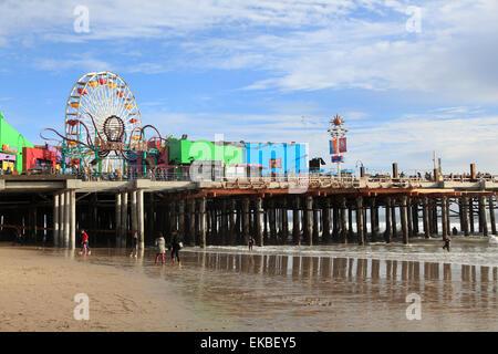 Santa Monica Pier, Pacific Park, Santa Monica, Los Angeles, California, United States of America, North America - Stock Photo