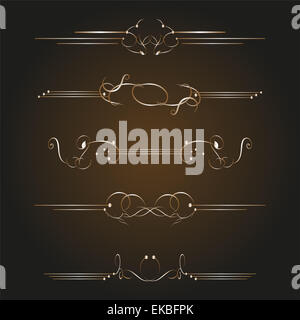 set of golden ornate page decor elements - Stock Photo