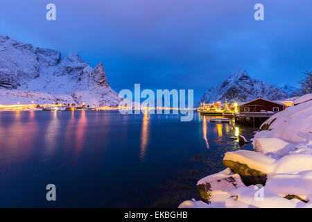 Blue hour in the small bay of Reine, Lofoten Islands, Norway - Stock Photo