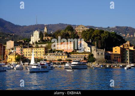 Santa Margherita Ligure harbour, Genova (Genoa), Liguria, Italy, Europe - Stock Photo