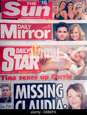 The 'red top' tabloid national newspapers The Sun, Daily Mirror & Daily Star, London - Stock Photo
