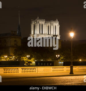 View of Pont au Change and Notre-Dame Cathedral at night, Paris, France - Stock Photo