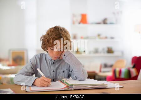 Teenage boy studying and writing notes - Stock Photo