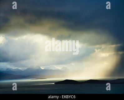 Dramatic storm clouds and loch, North West Highlands, Scotland, UK - Stock Photo