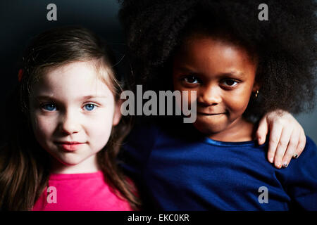 Best friends with arm around each other - Stock Photo