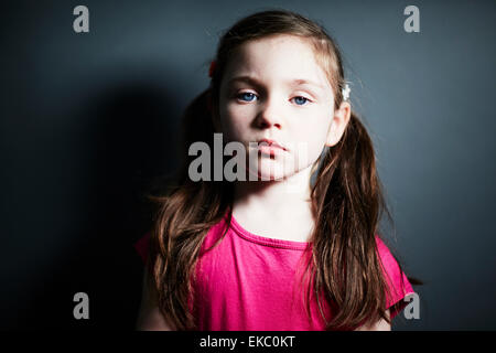 Girl with pigtails - Stock Photo