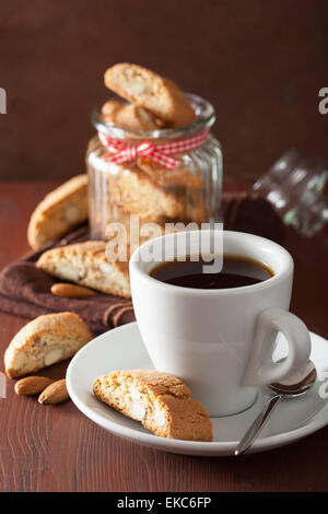 coffee and traditional italian cantuccini cookies - Stock Photo